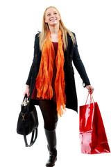 cute Young caucasian Woman with Shopping Bags in isolated white