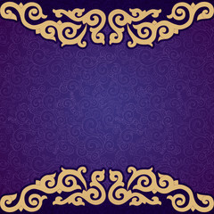 Oriental, folk ornament. Purple background.