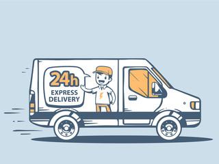 Vector illustration of van express delivering to customer on blu
