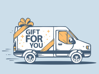 Vector illustration of van free and fast delivering gift for you