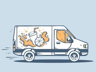 Vector illustration of van free and fast delivering fruit juice