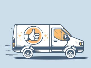 Vector illustration of van best delivering goods to customer on