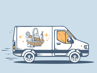 Vector illustration of van free and fast delivering basket with