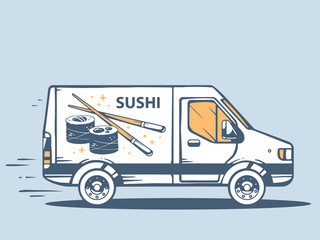 Vector illustration of van free and fast delivering sushi to cus