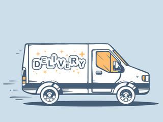 Vector illustration of van free and fast delivering lettering de