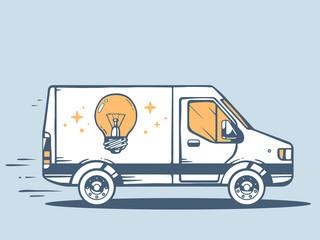 Vector illustration of van free and fast delivering bulb light t
