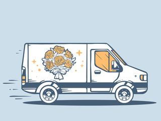 Vector illustration of van free and fast delivering bouquet of f