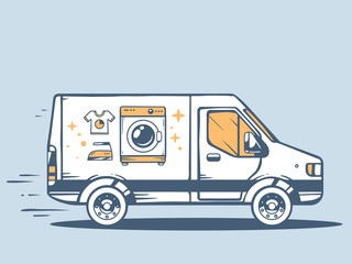 Vector illustration of van free and fast delivering washing mach