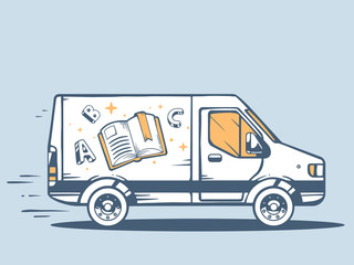 Vector illustration of van free and fast delivering photo book t