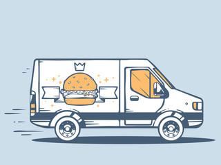 Vector illustration of van free and fast delivering photo big bu