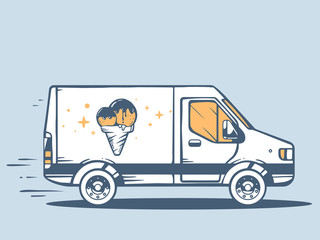 Vector illustration of van free and fast delivering photo ice cr