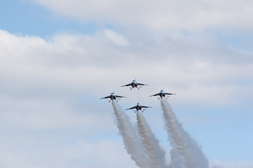Airshow by Japanese military fighter planes called Blue Impulse