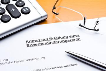Antrag Erteilung Rente Erwerbsminderung Taschenrechner