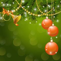 рождественский фон с шарами и дудкой, с бусами