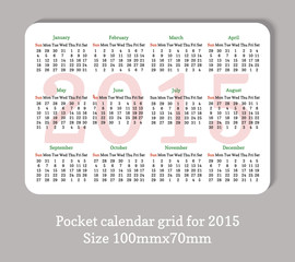 Pocket 2015 calendar in minimalistic style.