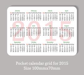 Pocket 2015 calendar in minimalistic style.