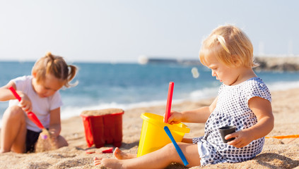 little children  on beach