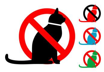 Pictograma gatos no con varios colores