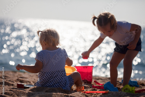 canvas print picture  children   playing with sand