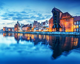 Gdansk, Poland old town, Motlawa river. Famous Zuraw crane - 73147142
