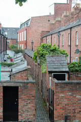 View of the courtyard gardens of a row of terraced houses