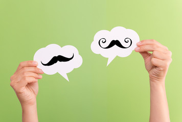 Text Bubbles with mustache inside