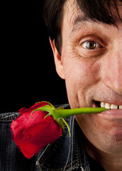 the face of the man with a rose