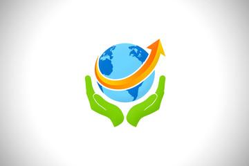 save the world logo globe world arrow vector