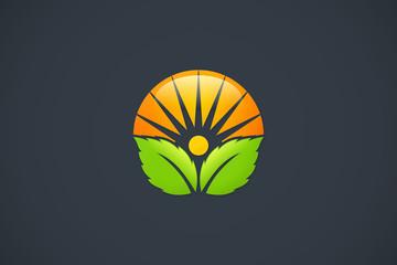 natural leaf organic sun shine design logo