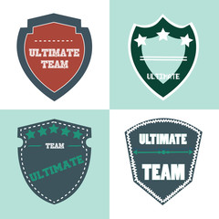 ultimate shield product retro label. vector illustration