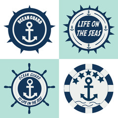 ocean guards label. vector illustration