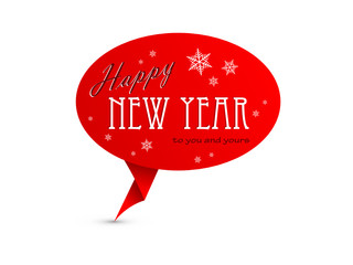 HAPPY NEW YEAR Speech Bubble Icon (merry retro christmas)