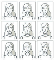 Facial expressions of a young woman. Simple line
