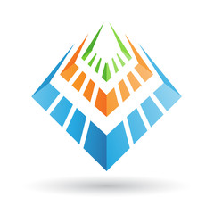 Orange, Green and Blue Abstract Icon