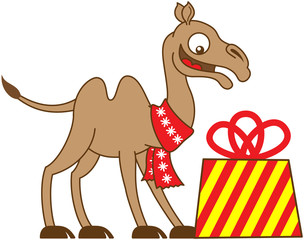 Camel feeling surprised when receiving a Christmas gift