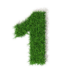 1 uno numero 3d erba verde, isolato su sfondo bianco