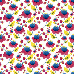 watercolor flowers pattern nature background