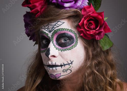 Staande foto Kinderkamer Halloween witch. Beautiful woman wearing santa muerte mask portr