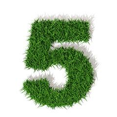 5 cinque numero 3d erba verde, isolato su sfondo bianco
