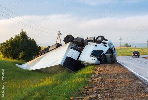 Hard truck crash at the freeway.