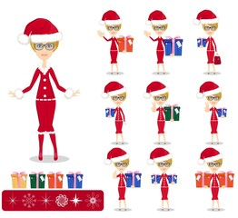 Santa Girl with Gifts, Vector