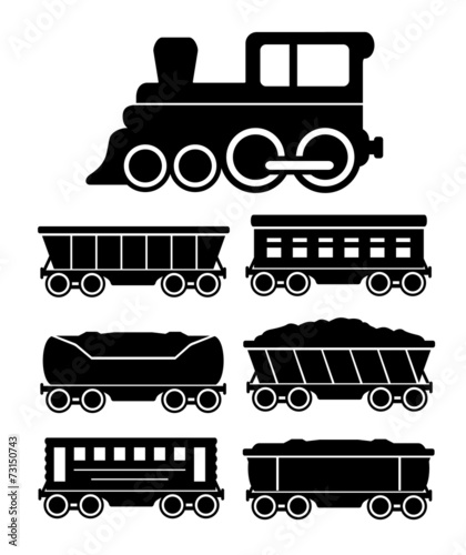 set train cars for travel or cargo delivery - 73150743