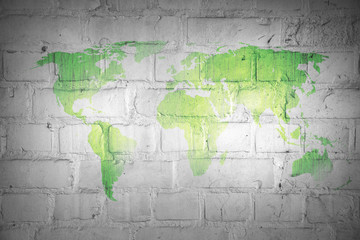 Landkarte *** Weltkarte Mauer