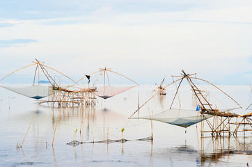 Water scape scene with square dip net in Patthalung,Thailand