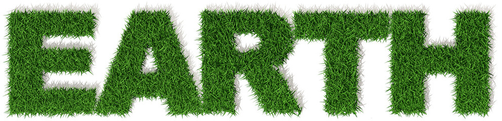 Earth terra mondo erba verde, parola isolata su sfondo bianco