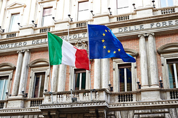 Flag of Italy and United Europe on government in Rome