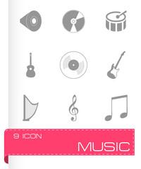 Vector black music icons set