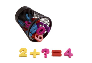 Colorful plastic numbers in black metal container isolated on wh