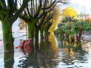 Locarno, lakeside flooded
