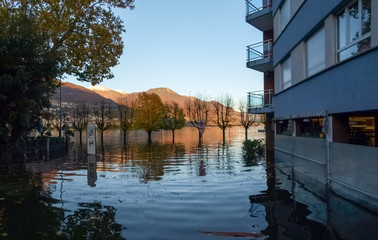 Locarno, streets flooded